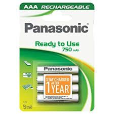 Įkraunami elementai Panasonic Ready to Use HR03 750 mAh AAA 4vnt